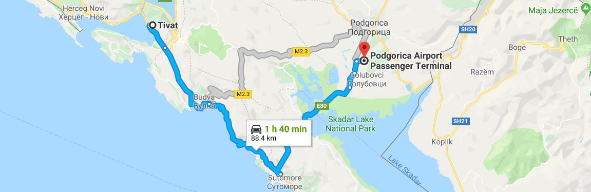 Taxi Routes from Podgorica Airport to Tivat